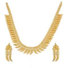 22kt Matte Finish Diamond Cut Gold Necklace Set-12-A1764
