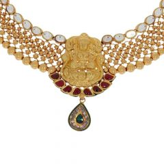 Temple Traditonal Design Studded With Colour Stone Gold Necklace Set-12-A456