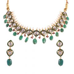 22kt Gold Kundan With Polki Drop Cabochon Cut Stone Necklace Set - 1206-A52