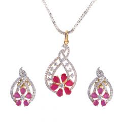 18kt Gold Floral Ruby With Pave Set Diamond Pendant Set - 121-A4408