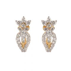 18kt Gold Cluster Diamond Half Bali Earring   - 122-A4715