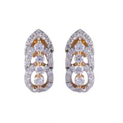 18kt Gold Pave Prong Cluster Diamond Earring - 122-A5277