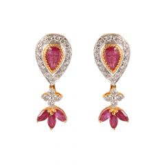 18kt Gold Flush Set Drop With Marquise Cut Ruby Diamond Earring - 122-A5581