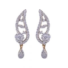 18kt Gold Pave Pressure Set Drop Diamond Earring - 122-A5758