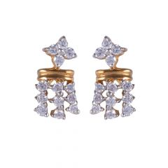 18kt Gold Prong Set Drop Diamond Earring - 122-A6274