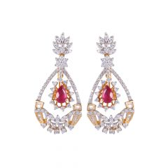 18kt Gold Ruby With Pave Set Multicut Diamond Chandelier Earring - 122-A6347