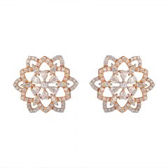 Floral Design Round,Marquise,Pear Diamond Earrings - 122-A6658