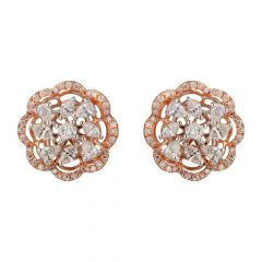 Floral Shape Design Round,Pear,Marquies,Princess Diamond 18kt Rose Gold Earring - 122-A6785