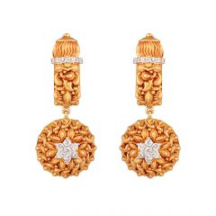 Antique Finish Drop Diamond Earring - 122-A6791