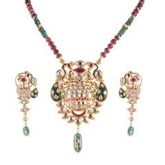 22kt Gold Multicolour Stone Kundan With Polki Drop Stone Necklace Set - 124-A2833