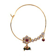Glittering CZ With Drop Beads Stone Floral Nose Nath - 1246