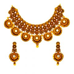 Antique Textured Kundan Gold Necklace Set