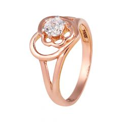 Glossy Finish Heart Floral Sparkling CZ Gold Rings - 1274-A355