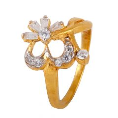 Baguette With Round Cut CZ Ring - 12823
