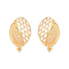 Oval Diamond Cut Glittering Gold Earring-13-A2939