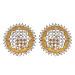 22kt Gold CZ Cluster Earrings-13-A3428