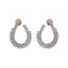 22kt Gold Studded With CZ Huggie Design Earrings-13-A3131