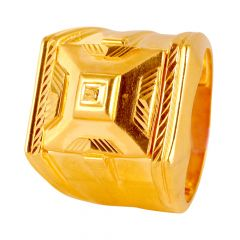 Glossy Finish Diamond Cut Mens Gold Ring - 135-114237