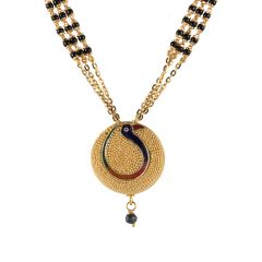 Matte Finish Embossed Beads Multicolour Peacock Enamel Gold Mangalsutra  - 14-A1203