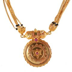 Glossy Antique Finish Multiline Drop Circle  Gold Mangalsutra  - 14-A4
