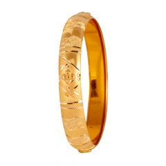Diamond Cut Matte Sand Blast Finish Embossed Floral Bangle - 140-112656