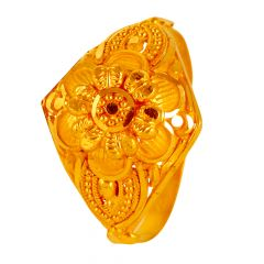 Matte Glossy Finish Embossed Floral Gold Rings - 14RG82
