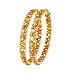 Ceremoinal Paisley Polki Openable Bangle (Set Of Two)