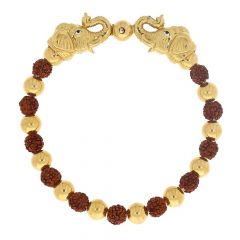 Glossy Finish Elephant Design Studded With Synthetic Rudraskh Linked Gold Bracelet