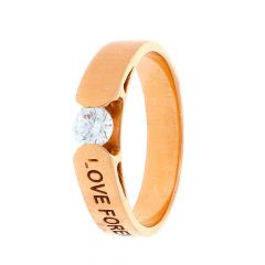 Matte Finish Love Solitaire Design CZ Studded Rose Gold Ring