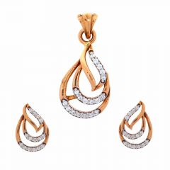 Glossy Finish Curved Leafy Design CZ Studded Rose Gold Pendant Set