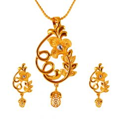 Blossom Flower Drop Filigree Gold Pendant Set  - 17APS298