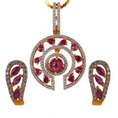 Cluster CZ With Pink Stone Studded Gold Pendant Set - 17APS8