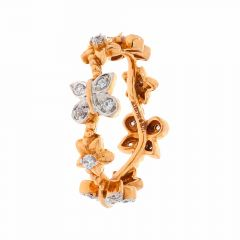 Glossy Finish Wavy Floral Design CZ Studded Rose Gold Ring