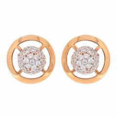 Glossy Finish Dome Design CZ Studded Rose Gold Stud Earrings