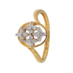 Glittering Floral Design Diamond Ring