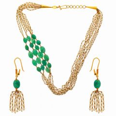 Glossy Finish Linked With Synthetic Pearl Emerald Gold Necklace Set