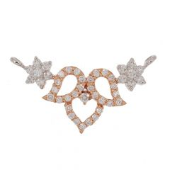 Sparkling Pave Prong Set Curved Floral Design Two Tone Diamond Tanmaniya