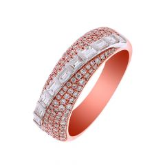 Stylish Cluster Overlapping Baguette Diamond Ring