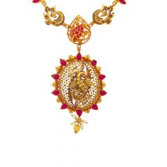 Antique Finish Peacock Design Synthetic Ruby Pearl Studded Gold Necklace