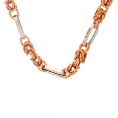 Glossy Finish Two Tone Linked Design Gold Chain