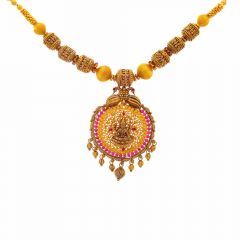 Antique Finish Temple Peacock Design Synthetic Ruby Studded Gold Necklace