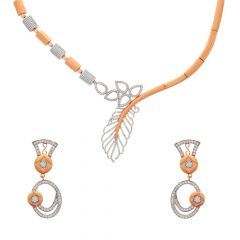 Glossy Finish Comtemporary Design CZ Studded Rose Gold Necklace Set
