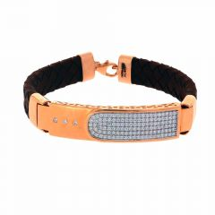 Glossy Finish Leather Strap Blet Design CZ Studded Rose Gold Bracelet