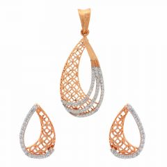 Glossy Finish Drop Cut Out Design CZ Studded Gold Pendant Set