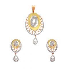 Glossy Finish Contemporary Design Gold Pendant Set