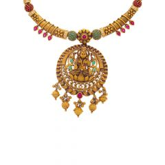 Antique Finish Temple Design CZ With Synthetic Ruby Emerald Gold Necklace