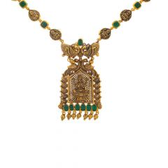 Antique Oxidize Finish Temple Traditional Design Synthetic Emerald Gold Necklace