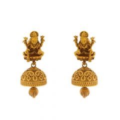 Antique Finish Temple Design Gold Earrings