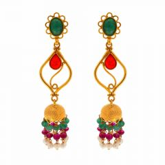 Glossy Finish Floral Drop Pearl Design With Ruby Emerald Gold Jhumki Earrings