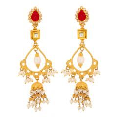 Glossy Finish Drop Design Kundan With Ruby Pearl Studded Gold Dangler Earrings